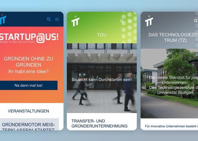 """Webseite """"Existenzgründung an der Universität Stuttgart"""""""